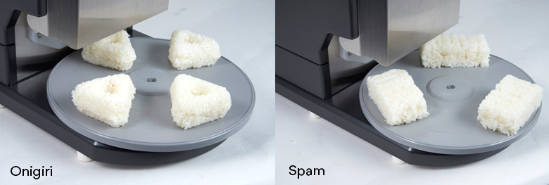 Sushi Robot ASM545A produces a variety of rice ball sizes and shapes such as onigiri and spam musubi