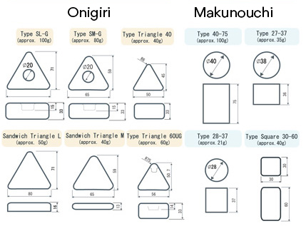 Forming rollers available for onigiri, spam musubi, rice sandwich, makunouchi, and rice burgers